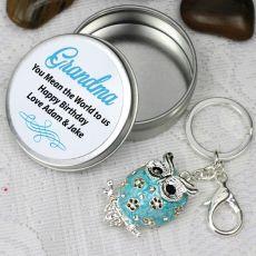 Personalised Grandma Keyring Gift - Owl