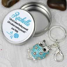 Personalised Blue Owl Keyring Gift