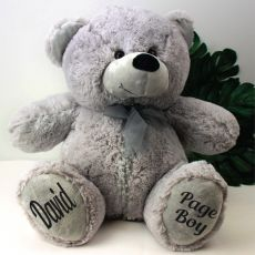 Personalised Page Boy Teddy Bear 40cm Grey