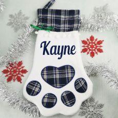 Personalised Pet Christmas Stocking- Blue Plaid