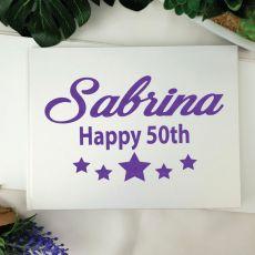 50th Birthday Guest Book Keepsake Album - A5 White