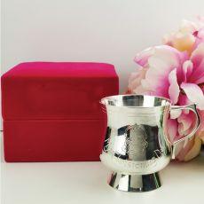 Baby Girl Christening Mug Silver Plated Pink Velvet Box