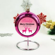 Personalised Christmas Bauble - Pink Reindeer