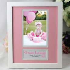 Personalised 1st Birthday  Photo Frame 4x6 White Wood Pink