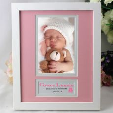 Baby Girl Personalised  Photo Frame 4x6 White Wood