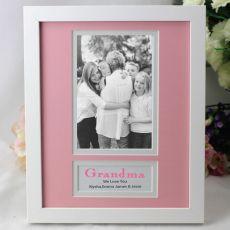 Personalised Grandma Photo Frame 4x6 White Wood Pink