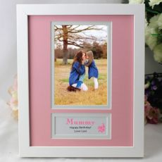 Personalised Mum  Photo Frame 4x6 White Wood Pink