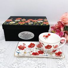 Breakfast Set Cup & Sauce in 80th Birthday Box - Poppies