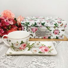 Breakfast Set Cup & Sauce in Grandma Box - Butterfly Rose