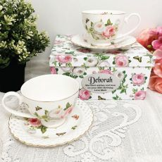 Cup & Saucer Set in 60th Birthday Box - Butterfly Rose