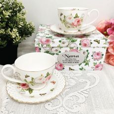 Cup & Saucer Set in Nana Box - Butterfly Rose