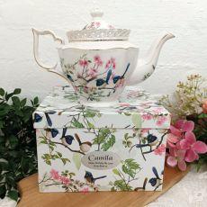 Teapot in Personalised Birthday Gift Box - Blue Wren