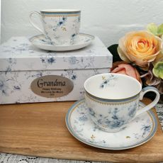Mug Set in Personalised Grandma Box - Blue meadows