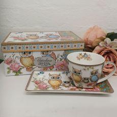 Owl Breakfast Set Cup & Sauce in Birthday Box