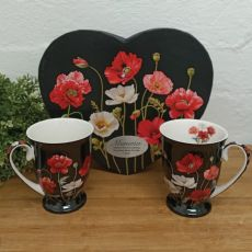 Poppies 2pcs Mug Set in Personalised Mum Heart Box