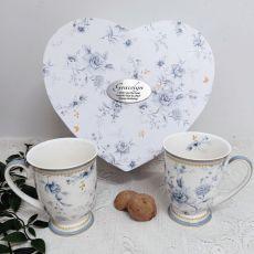 Mug Set in Personalised Birthday Heart Box - Blue meadows