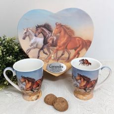 80th Birthday Mug Set in Personalised Heart Box - Horse