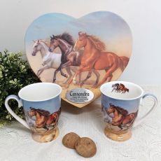 90th Birthday Mug Set in Personalised Heart Box - Horse