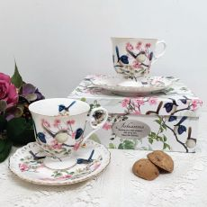 Cup & Saucer Set in Personalised 80th Birthday Box - Blue Wren