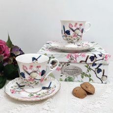 Cup & Saucer Set in Personalised Grandma Box - Blue Wren