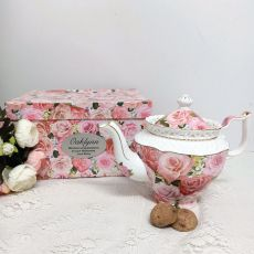 Teapot in Personalised Retirement Gift Box - Enduring Rose