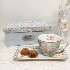 Breakfast Set Cup & Sauce in Personalised Box - White Rose
