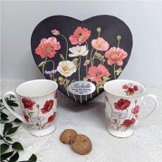 Poppies Mug Set in Personalised 60th Birthday Box