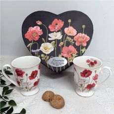 Poppies Mug Set in Personalised 80th Birthday Box