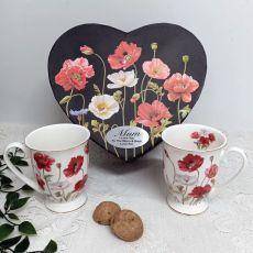 Poppies 2pcs Mug Set in Personalised Mum Box