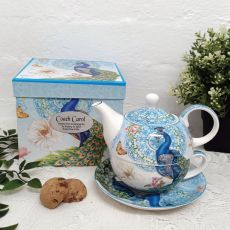 Peacock Tea for one in Personalised Coach Gift Box