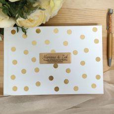 Wedding Guest Book & Pen Gold Spots