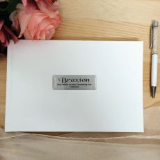 Christening Leather Guest Book & Pen