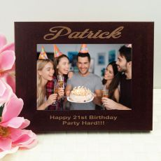 21st Birthday Engraved Wood Photo Frame- Mocha