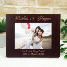Engagement Engraved Wood Photo Frame - Mocha