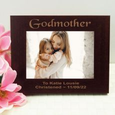 Godmother Engraved Wood Photo Frame - Mocha