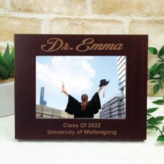 Graduation Engraved Wood Photo Frame- Mocha