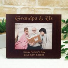 Grandpa Engraved Wood Photo Frame - Mocha