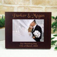 Wedding Engraved Wooden Photo Frame - Mocha