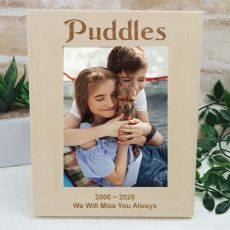 Dog Memorial Engraved Wood Photo Frame