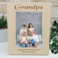 Grandpa Engraved Wood Photo Frame