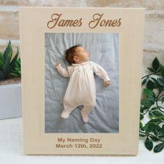 Naming Day Engraved Wood Photo Frame