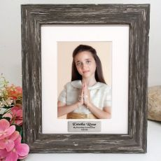 Communion Personalised Photo Frame Hamptons Brown 5x7