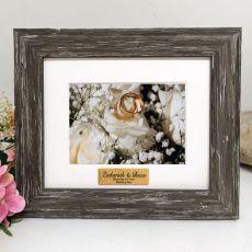 Wedding Personalised Photo Frame Hamptons Brown 4x6