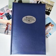 Personalised Birth Details Album 300 Photo Blue