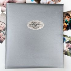 Personalised Baby Birth Details Photo Album 500 Silver