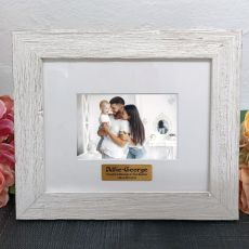 Personalised Baptism Frame Hamptons White 4x6