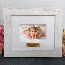 Personalised First holy communion Frame Hamptons White 4x6