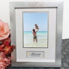 1st Birthday Photo Frame Silver Wood 4x6 Photo