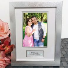 40th Birthday Photo Frame Silver Wood 4x6 Photo