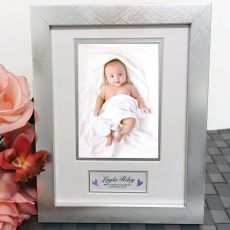 Naming Day Photo Frame Silver Wood 4x6 Photo